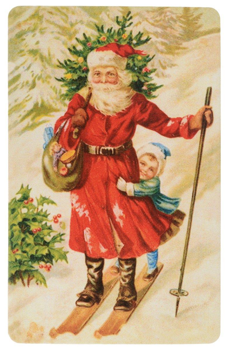 Дореволюционные новогодние рождественские открытки, рисунки днем